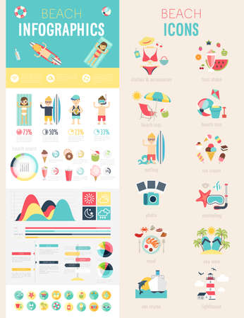 Beach Infographic set with charts and icons. Vector illustration. Stock Illustratie
