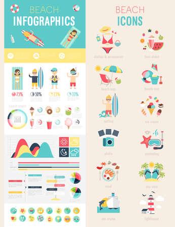 Strand Infografik Set mit Diagramme und Symbole. Vektor-Illustration. Standard-Bild - 39095540