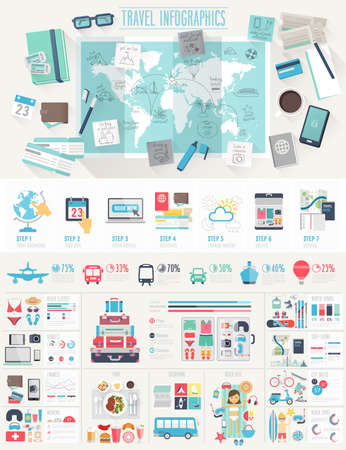 Travel Infographic set with charts and other elements. Vector illustration.