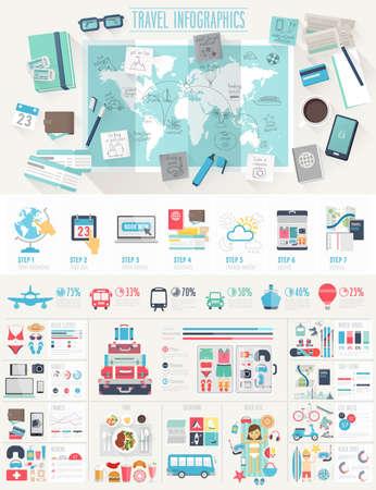 gezi: Seyahat Infographic çizelgeleri ve diğer unsurları ile ayarlayın. Vector illustration. Çizim