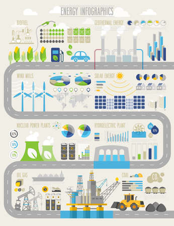 economy: Energy and ecology Infographic set with charts and other elements.