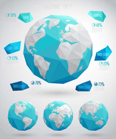 planete terre: Set de globes vecteur - style moderne géométrique