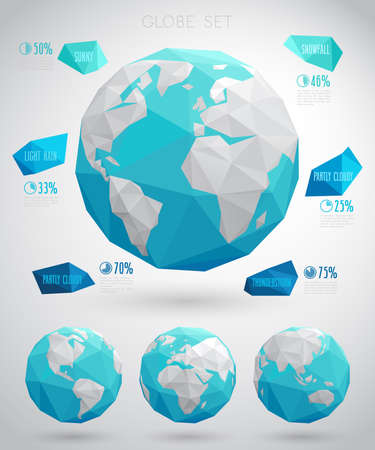 business asia: Set of vector globes - geometric modern style