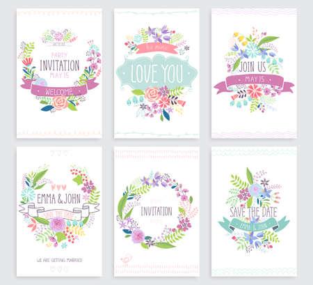 Romantic Floral hand drawn card set. Vector illustration. Vectores