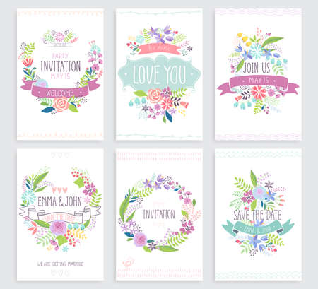 Romantic Floral hand drawn card set. Vector illustration. Stock Illustratie
