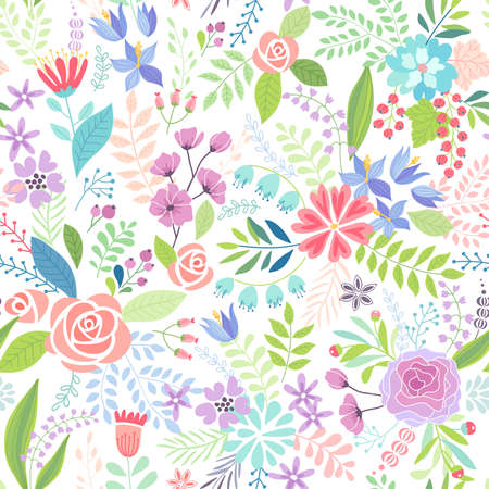 Seamless Floral colorful hand drawn pattern. Vector illustration. Illustration