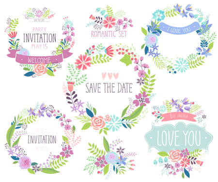Floral hand drawn card set. Vector illustration.
