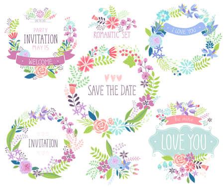 Floral hand drawn card set. Vector illustration.