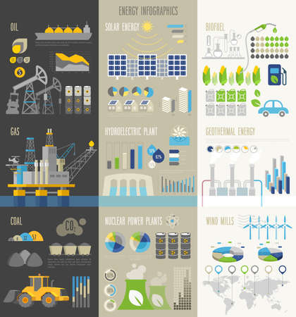 Energy and ecology Infographics with charts and other elements.