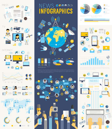 multimedia: News Infographic set with charts and other elements. Vector illustration.