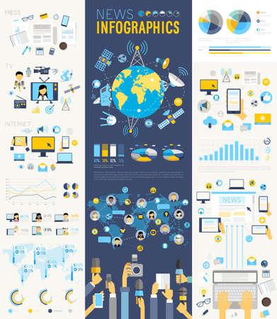 medios de comunicación social: Noticias Infografía conjunto con gráficos y otros elementos. Ilustración del vector. Vectores