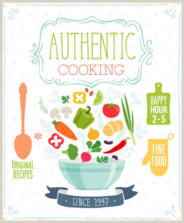 cooking: Authentic cooking poster. Vector illustration.