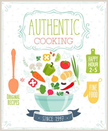 �cooking: Cartel de la cocina aut�ntica. Ilustraci�n del vector.
