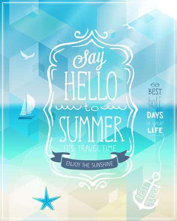 こんにちは、背景が熱帯の夏のポスター。  イラスト・ベクター素材
