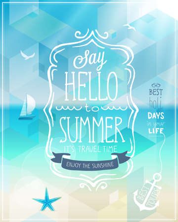 Hello summer poster with tropical background. Çizim