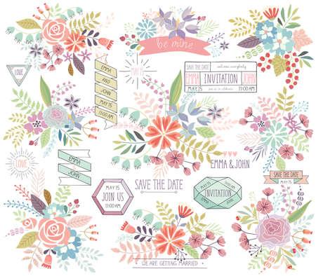 dattes: Main Floral Romantique Dessiné réglé. Vector illustration. Illustration