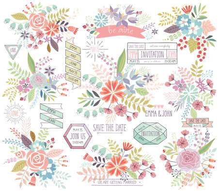 floral vector: Romantic Floral hand drawn set. Vector illustration.