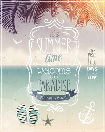 여름 시간 열대 포스터 - 빈티지 스타일.