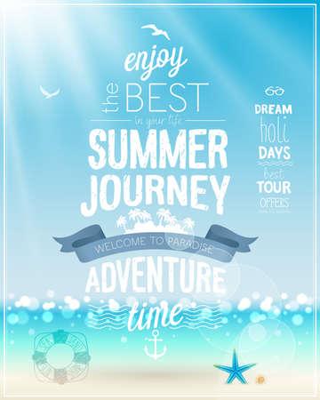 verano: Cartel Viaje del verano con la playa tropical de fondo.