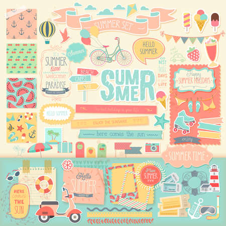 Summer scrapbook set - decorative elements. Vector illustration. Çizim