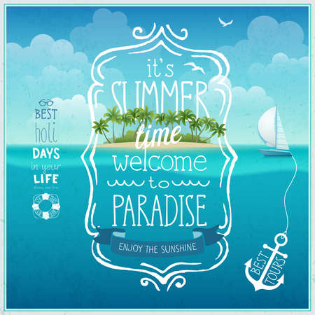 playa vacaciones: Verano cartel tiempo con isla tropical y fondo underwather. Vectores