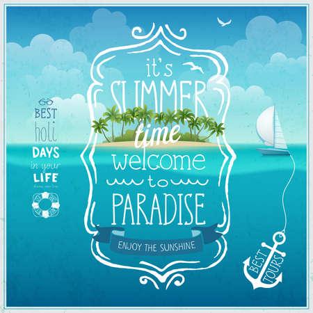 Zomertijd poster met tropische eiland en underwather achtergrond. Stock Illustratie