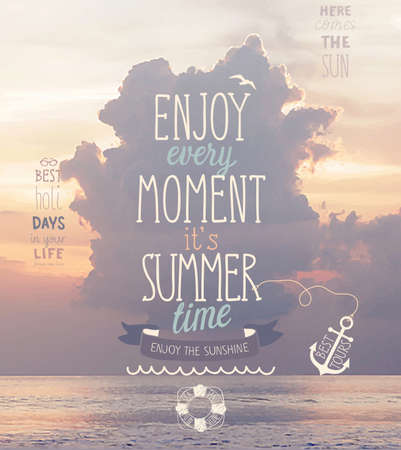 hawaii: Enjoy every moment poster with sunset sea background.