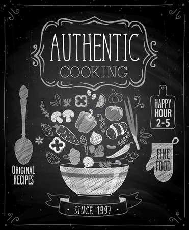 tablero: Auténtico cartel de cocinar - estilo de pizarra. Ilustración del vector. Vectores