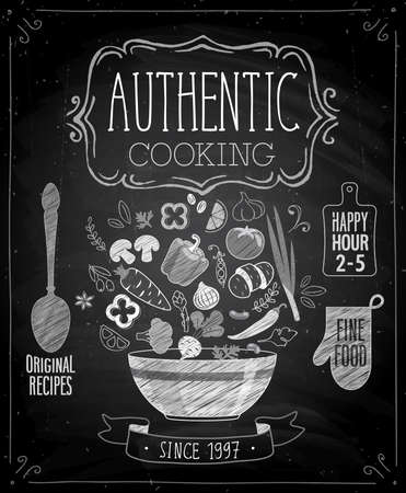 vegan food: Authentic cooking poster - chalkboard style. Vector illustration.