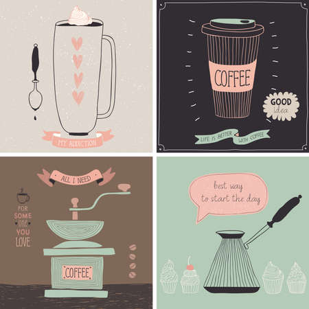 caligraphic: Coffee cards - Hand drawn style. Vector illustration.