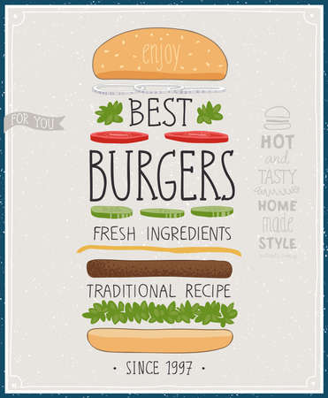Best Burgers Poster - hand drawn style. Vector illustration. Çizim
