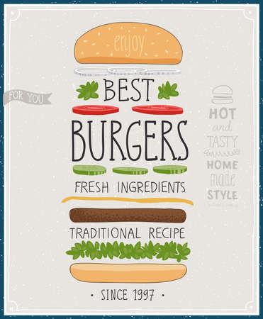 Best Burgers Poster - hand drawn style. Vector illustration. Illustration