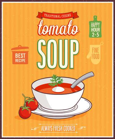 tomato soup: Vintage Tomato Soup Poster - Vector illustration.