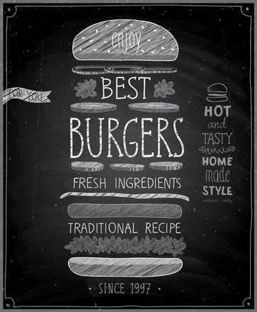 eating burger: Best Burgers Poster - chalkboard style. Vector illustration.