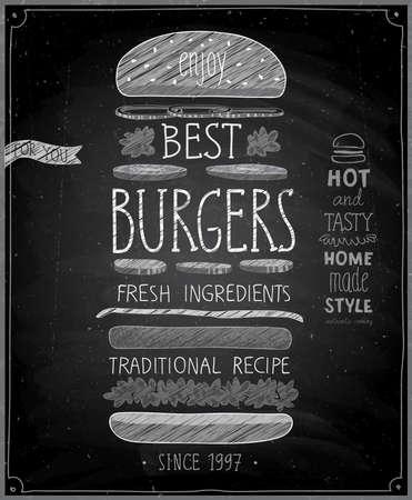 Nejlepší plakát Burgers - tabule styl. Vektorové ilustrace.