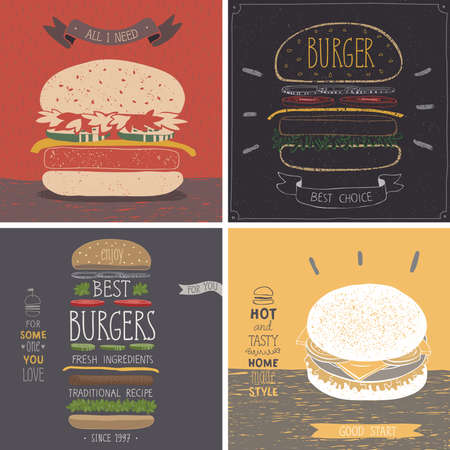 Burger cards - Hand drawn style. Vector illustration.