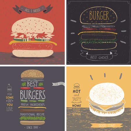 burger: Burger cards - Hand drawn style. Vector illustration.