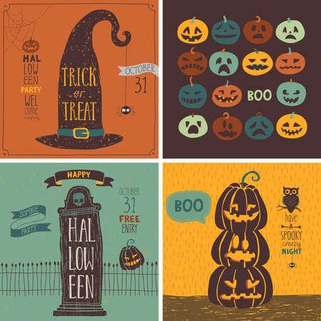 calabazas de halloween: Tarjetas de Halloween establecido. Ilustraci�n del vector.