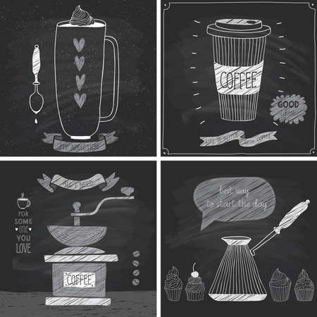 drawing board: Coffee cards - Chalkboard style. Vector illustration. Illustration