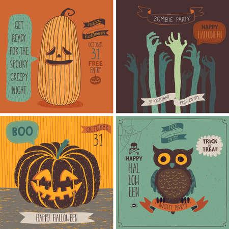 calabaza: Tarjetas de Halloween establecido. Ilustraci�n del vector.