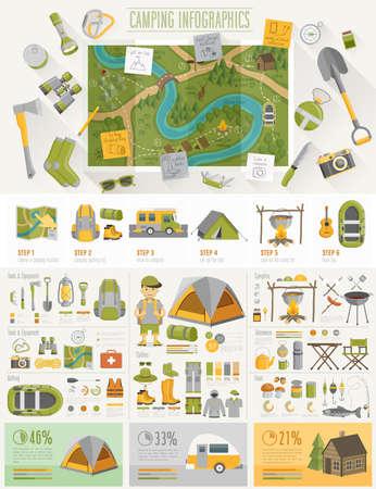 infografica: Camping set Infografica con grafici e altri elementi. Illustrazione vettoriale.