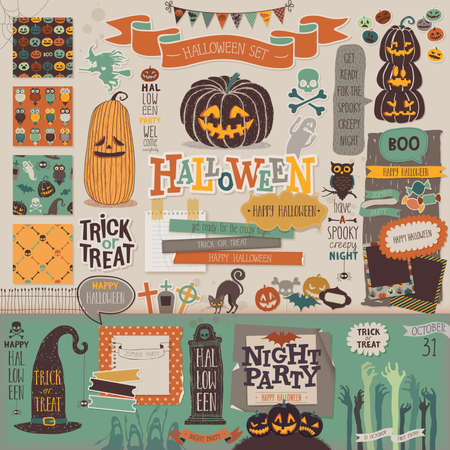 Halloween scrapbook set - decorative elements. Vector illustration. Çizim
