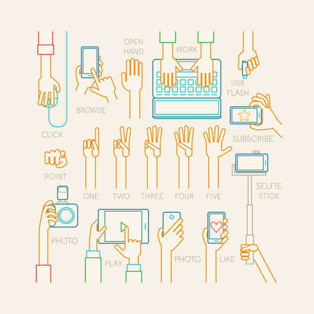 hand phone: Hands set - line style. Vector illustration. Illustration