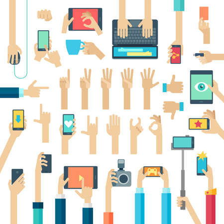 Hands set with gadgets. Vector illustration. Çizim
