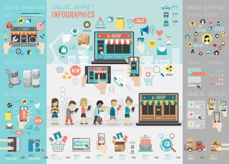 infografica: Linea Mercato Infografica set con grafici e altri elementi. Illustrazione vettoriale. Vettoriali