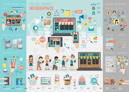 redes de mercadeo: Mercado Online Infografía conjunto con gráficos y otros elementos. Ilustración del vector. Vectores