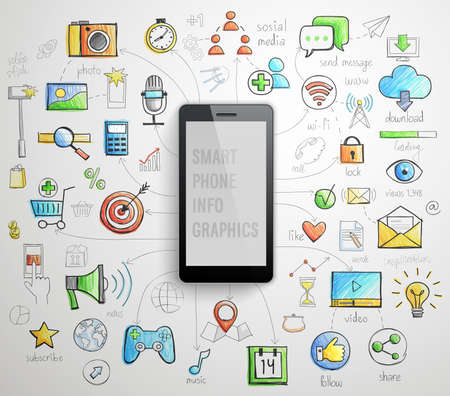 Smart Phone infographics -handdrawn style. Vector illustration.