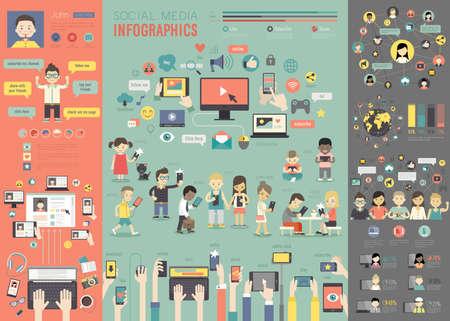 infografica: Social Media Infografica set con grafici e altri elementi. Illustrazione vettoriale. Vettoriali
