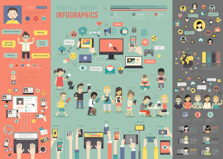 graphic icon: Social Media Infographic set with charts and other elements. Vector illustration.