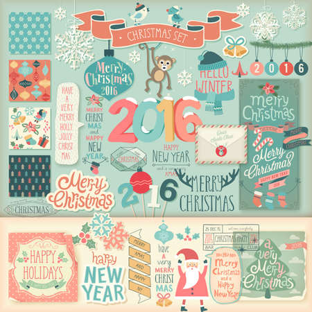 scrap: Christmas scrapbook set - decorative elements. Vector illustration.